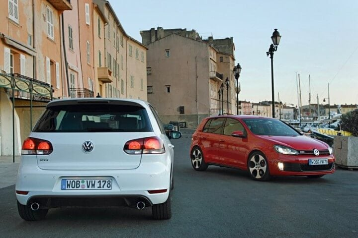 White and Red VW Golf GTis