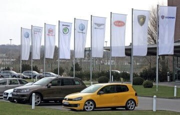 Volkswagen Group Brands Flags in Wolfsburg
