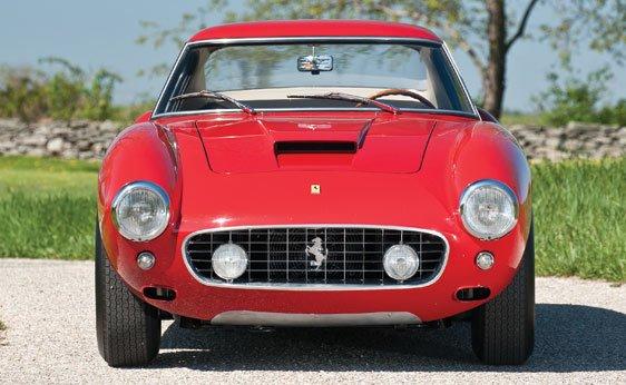 Front view of the red 1960 Ferrari 250 GT SWB Berlinetta Competizione