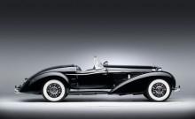 Profile of a black 1939 Mercedes Benz 540 K Special Roadster