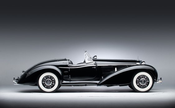 Profile of a black 1939 Mercedes-Benz 540 K Special Roadster