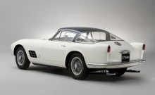 Rear view of a white 1955 Ferrari 375 MM