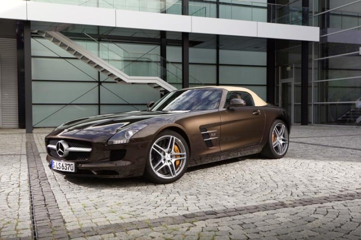 Brown Mercedes SLS
