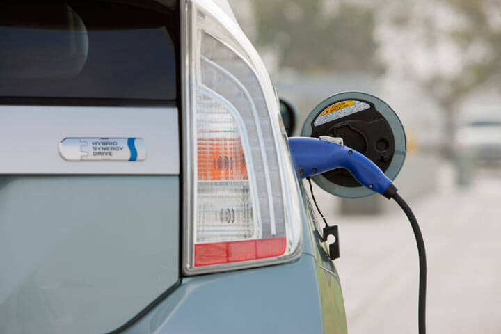 Toyota Prius Plug-in with the plug in