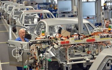 Cars Being Made in a Volkswagen Factory