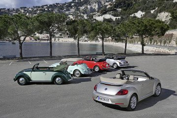 Five Generations of VW Beetle Cabriolets