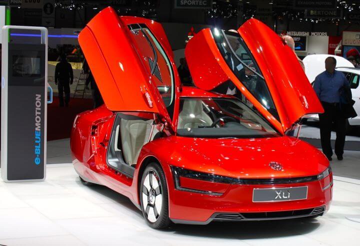 Red VW 1l Car at the Geneva Auto Salon 2013