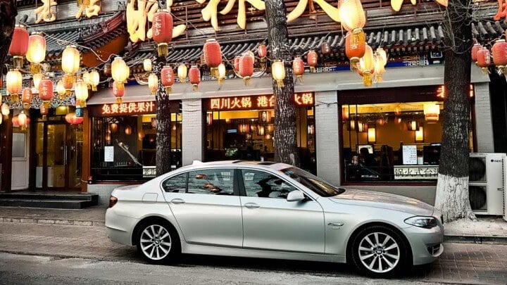 Silver BMW 5 Series in China