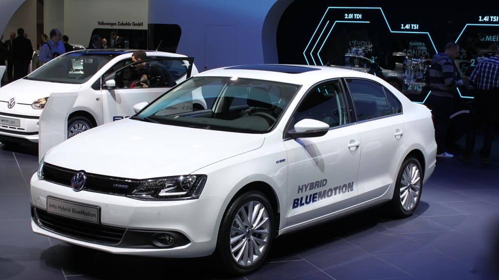 White VW Hybrid Jetta
