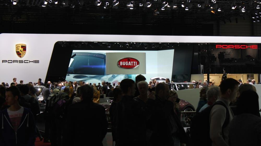 Porsche and Bugatti Stands at Geneva Auto Show 2014