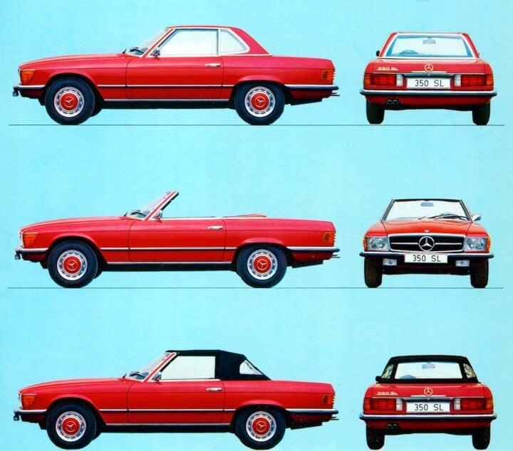 Red Mercedes Benz SL R107