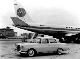 Mercedes Benz Heckflosse with Pan Am jet