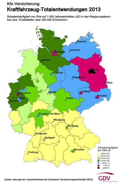 Map of German Car Theft Risk