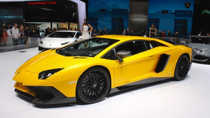 Yellow Lamborghini Aventador at Geneva Auto Show 2015