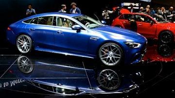 Blue Mercedes Benz AMG GT 63 S