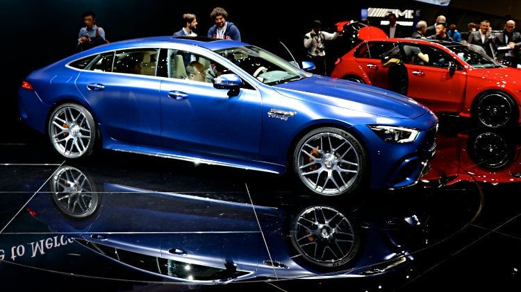 Blue Mercedes Benz AMG GT 63 S