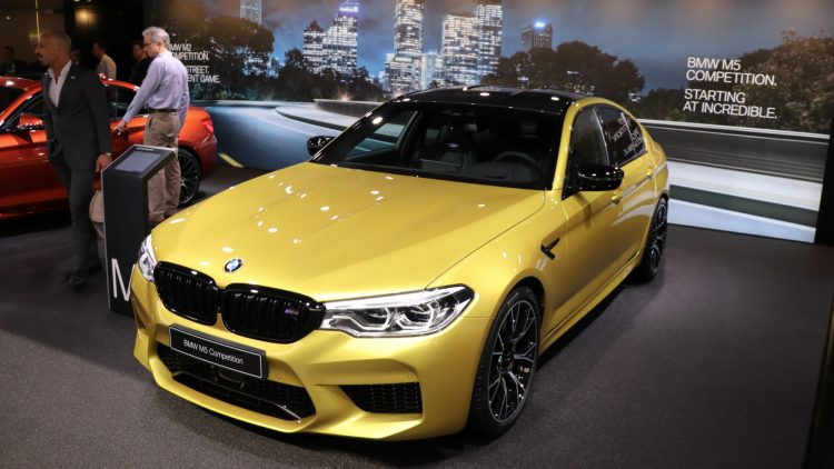 Yellow BMW M5 Competition at Geneva 2019