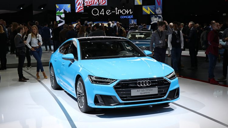Blue Audi A7 In 2019, Audi sales worldwide increased by 1.8% to 1,845,550 cars. Audi had record sales in China.