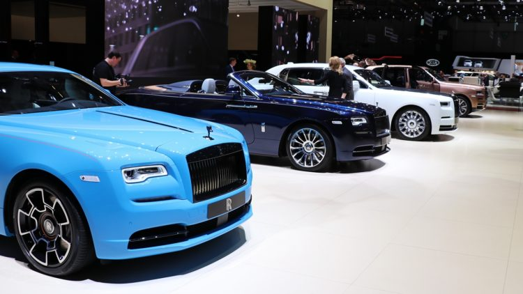 Rolls-Royces at Geneva Auto Salon 2019. Worldwide car sales were weaker in 2019 but Rolls-Royce cars sold in record numbers.