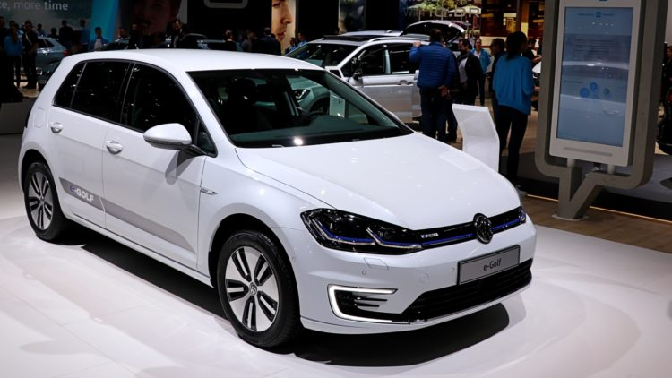 White VW e_Golf at Geneva 2019. In full-year 2019, the Volkswagen Golf was again the best-selling car model in the European Union (EU).