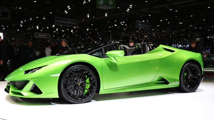 Green Lamborghini Roadster - in 2019 the Lamborghini Urus rather than sleek sports cars were the best-selling model worldwide.