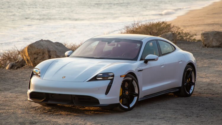 White Porsche Taycan In 2020, Porsche sales in the USA contracted by 7%. The Macan and Cayenne were the top-selling models and the 911 the favorite sports car.